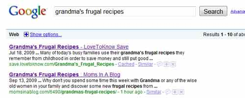 Grandma's Frugal Recipes Search Results